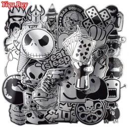 Gorąca sprzedaż 50 sztuk metalowe czarno-białe naklejki Graffiti naklejki na laptopa bagaż Car Styling gitara ścienna fajne nakl
