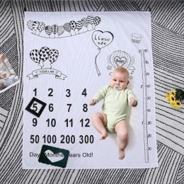 Nadruk kreskówkowy koc tło materiałowe fotografowania noworodków rekwizyty wystrój ręczników miesięczny wzrost ozdoba zdjęcia