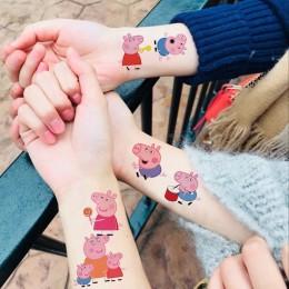 Świnka Peppa naklejki z tatuażami zabawki z kreskówek zestaw George rodziną i przyjaciółmi wodoodporna dla dzieci zabawki dla dz