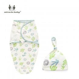 Dziecko przewijać koc + czapka noworodka kokon Wrap bawełna pieluszki torba dziecko koperta śpiwór pościel