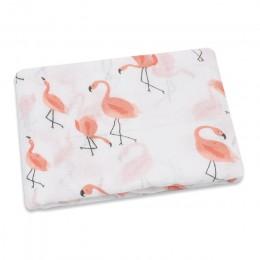 PINK SWAN 100% bawełna Flamingo Rose nadruk z owocami muślin koce dla dzieci pościel niemowlę ręcznik do owijania dla noworodków