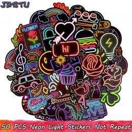 50 sztuk Neon naklejka na światła Anime ikona zwierzęcia słodkie naklejki naklejki prezenty dla dzieci do laptopa walizka gitara