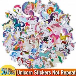 50 sztuk jednorożec naklejki Cartoon zwierząt wodoodporna Diy śliczne Graffiti naklejki na bagaż rower Notebook samochód Laptop