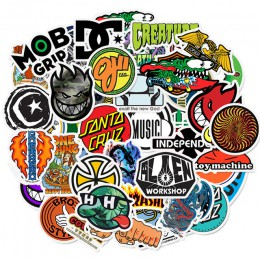 50 sztuk deskorolka moda marka Logo wodoodporna naklejka na bagaż samochodowy Guaitar deskorolka telefon Laptop naklejki rowerow