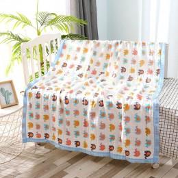 110*110cm 6 warstw muślin dziecko narzuty na łóżka bawełniane koce dla dzieci noworodek odbieranie koce pieluszki kocyk dziecięc
