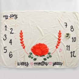 12 miesięczne dziecko Milestone koc miesięczne koce dla dzieci noworodka miękkie rekwizyty fotograficzne dla dzieci anioł skrzyd