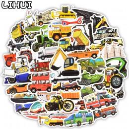50 sztuk urządzenie inżynieryjne naklejki samochodowe śliczne autobus ciężarówka motocykl naklejki dla dzieci zabawki podróży wó