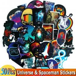 50 sztuk naklejki kosmiczne dla wszechświata astronauta Spaceman rakieta statek planeta naklejka na bagaż Laptop lodówka rower D