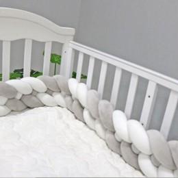 1PC 1 M/2.2 M/3 M/4 M łóżko dla noworodka zderzak długie z węzełkami 4 pleciona poduszka ochraniacz do łóżeczka dla dzieci węzeł