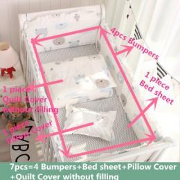 7 sztuk Hot! Komplet pościeli dziecięcej 100% bawełna pościel do łóżeczka zestaw łóżeczko dla dziecka Protector bezpieczne zderz