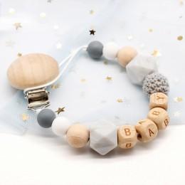 Spersonalizowana nazwa Handmade smoczek silikonowy łańcuchy bezpieczne ząbkowanie łańcuszek Baby Teether ekologiczny klips smocz