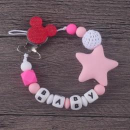 XCQGH spersonalizowana nazwa silikonowy klips smoczka dla niemowląt łańcuch smoczek z uchwytem na mysz dla dziecka, prezent na B