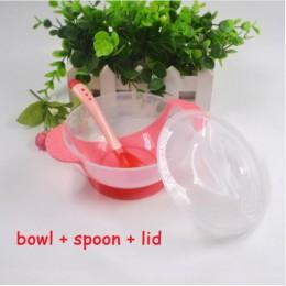 3 sztuk/zestaw naczynia do nauki dla dzieci z przyssawką zestaw obiadowy dla dzieci Assist Bowl łyżka z czujnikiem temperatury w