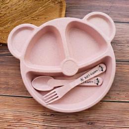 Miska dla dzieci + łyżka + widelec karmienie zastawa stołowa zestaw Cartoon niedźwiedź naczynia dla dzieci jedzenie naczynia sto