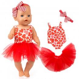 Różowa tutu sukienka dla 18 cali dziewczyny lalka księżniczka sukienka zabawki ubrania bebe sukienka dla lalek dla 43 cm dzieci