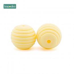 Bopoobo 10 sztuk kulki silikonowe dziecko ząbkowanie okrągłe spiralne koraliki Food Grade koraliki 15mm DIY gwintowane BPA darmo