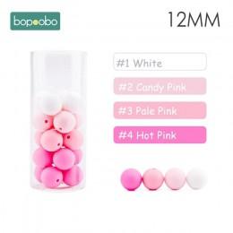Bopoobo 12mm kulki silikonowe 9mm 30pc koraliki Food Grade koraliki dla ząbkującego dziecka DIY bransoletka opieki silikonowe Ti