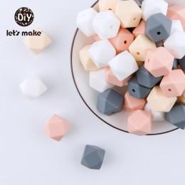 Kulki silikonowe BPA darmowe sześciokątne koraliki 14mm Food Grade silikonowe gryzaki DIY koraliki ząbkowanie Necklac 10pc Baby