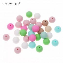 TYRY. HU 50 sztuk 12mm silikonowe ząbkowanie koralik dziecko żucia gryzak klips smoczka koraliki Food Grade Silicone BPA bezpłat