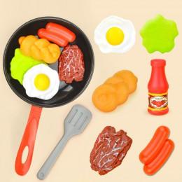 8 sztuk zabawki kuchenne w kształcie jedzenia symulacja przybory kuchenne zestaw do gry udawaj zagraj w garnek stek chleb warzyw