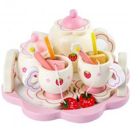 Dziewczyny zabawki symulacji drewniane zabawki kuchenne różowy zestaw do herbaty dom zabaw zabawki edukacyjne narzędzia dla dzie