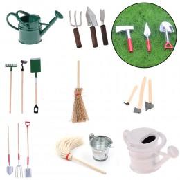 Narzędzia ogrodnicze cyny konewka do skali 1/12 miniaturowe akcesoria do domku dla lalek pejzaż z ogrodem model na scenę mebelki