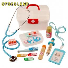 16 sztuk dzieci udawaj zagraj w zabawki do zabawy w lekarza dzieci drewniany zestaw medyczny symulacja medycyna skrzynia zestaw