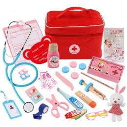 Dzieci drewniany zabawkowy zestaw lekarski zestaw symulacja rodzina lekarz pielęgniarka zestaw medyczny zabawka udawaj zagraj w