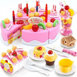 75 sztuk urodziny ciasto zabawka diy owoce krem zestaw upominków na boże narodzenie dzieci dzieci udawaj zestaw zabawek prezent