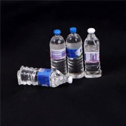 4 sztuk Mini butelki na wodę mineralną domek dla lalek zabawka miniaturka lalka jedzenie kuchnia akcesoria do salonu dzieci prez
