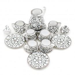 Odoria 1:12 miniaturowy 15 sztuk porcelanowy zestaw filiżanek do herbaty Chintz kwiat zastawa stołowa kuchnia domek dla lalek (1
