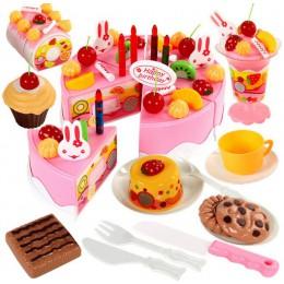 75Pc DIY udawaj zagraj w owoce cięcie tort urodzinowy kuchnia zestaw zabawek jedzenie Juguete zabawka różowy niebieski prezent d
