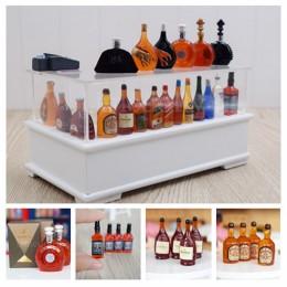 Różne Style Mini 1/12 Dollhouse miniaturowa symulacja butelki wina Whisky udawaj zagraj w lalki akcesoria do napojów spożywczych