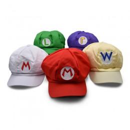 5 kolorów Anime Super Mario kapelusz czapka Luigi Wario waliigi Bros Cosplay Baseball kostium kreskówka kapelusze pluszowe zabaw