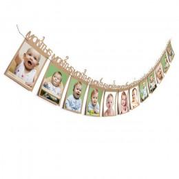 1-12 miesięcy dziecko folder zdjęć dla dzieci urodziny dekoracje na imprezę tematyczną zabawki baner ze zdjęciami comiesięczne z