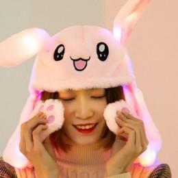 Śliczne pluszowe termiczna kapelusz czapka z daszkiem z ruchome w kształcie ucha zabawka króliczek dla kobiet Lady Run K Pop gra