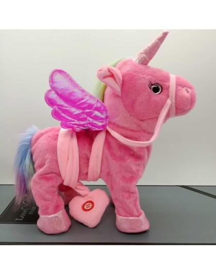Śmieszne zabawki elektryczny chodzący pluszowy jednorożec wypchane zwierzę zabawka elektroniczna muzyka jednorożec zabawka dla d