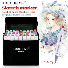 TouchFIVE 30/40/60/80 markery kolorów Manga markery do rysowania pióro na bazie alkoholu szkic tłustej Twin pędzelek do zdobień