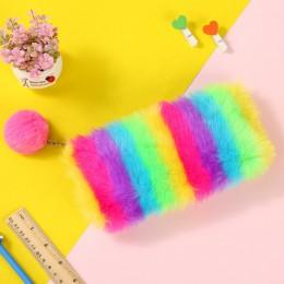 Śliczne jednokolorowe pluszowy piórnik dla dziewczynek piórnik piśmiennicze piórnik Kawaii szkolne