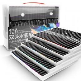 48/60/72/100 kolorowe markery akwarelowe do rysowania zestaw malarski profesjonalny pędzel do kolorowania wodą zestaw długopisów