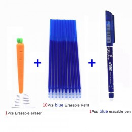 7/12 sztuk/partia zmazywalny długopis Refill Rod 0.5mm niebieski/czarny/czerwona farba długopis żelowy zmywalny zestaw uchwytów