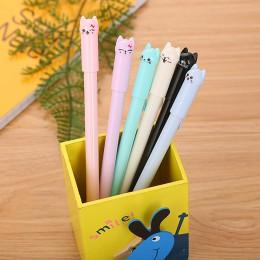5 kolory śliczne Kawaii czarny tusz kot długopis żelowy Cartoon plastikowe długopisy żelowe do pisania biuro szkolne papiernicze