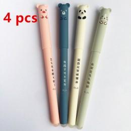 4 sztuk/partia uroczy niedźwiadek animowany Panda różowa mysz kasowalna niebieski atrament długopis żelowy szkolne materiały biu