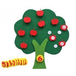 Czuł tkaniny DIY dzieci edukacyjne zabawki trwałe cyfrowe poznawcze dziecko Montessori edukacja dostarcza jabłoń zabawki prezent