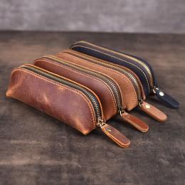 Ręcznie robiony skórzany piórnik w stylu Vintage w stylu Retro skóra bydlęca Zipper piórnik tornister etui na okulary akcesoria