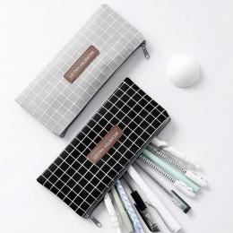 Kawaii proste siatki dot płótno ołówek torba magazyn materiałów piśmienniczych organizator ołówek przypadku szkoły dostaw