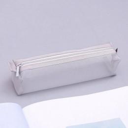 Czarny przezroczysty piórnik do szkoły Nylon piórnik Mesh piórnik mały długopis szkolne artykuły papiernicze prezenty