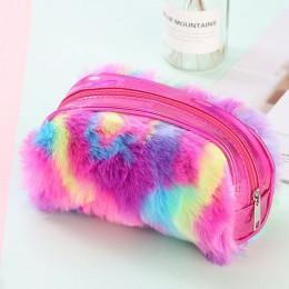 Nowy śliczny pluszowy piórnik PU Zipper pudełko na długopis dla dziewczyn kobiet duży piórnik kosmetyczka szkolne materiały biur