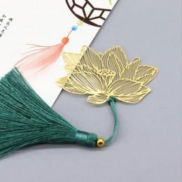 Vintage chiński styl złoty metal z dziurką lotos Tassel zakładka papeteria książka Folder biuro szkoła wykwintne szkolne