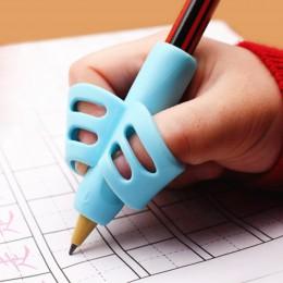 Z dwoma palcami TPR ołówek i uchwytem na pióro 3 sztuk pisania szkolenia narzędzie do korekcji pióro gospodarstwa szkoły podstaw